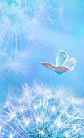Beautiful dandelion seeds closeup blowing and butterfly on light blue vertical background. Soft pastel toned. Macro with soft focus. Artistic image of spring. Nature template