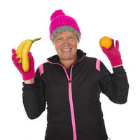 Fit Healthy winter woman with fruit