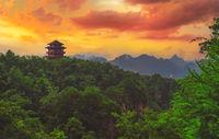 Pagoda on top of a mountain peak in Zhangjiajie NP