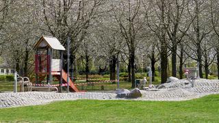 gesperrter Spielplatz in Magdeburg