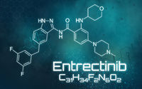 Chemical formula of Entrectinib on a futuristic background