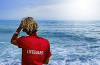 Lifeguard in a red shirt
