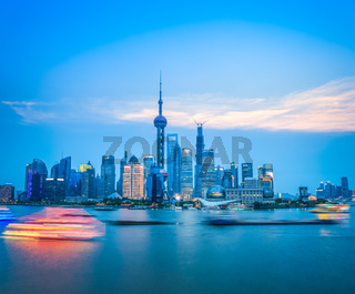 beautiful shanghai skyline in nightfall