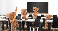 classroom Teddy bears 3d-illustration design