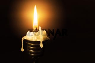 Candle on dark closeup
