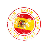 Spain sign, vintage grunge imprint with flag on white