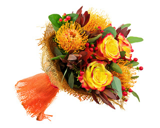 Bouquet from Roses and Arabian Star Flower (Ornithogalum arabicum) Isolated.