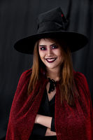 Portrait of asian woman in halloween cloth