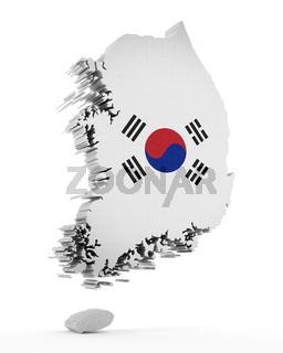 South Korea map and flag