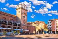 Mantova city Piazza delle Erbe evening view, European capital of culture and UNESCO world heritage site