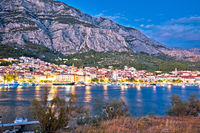 Town of Makarska and Biokovo mountain evening view