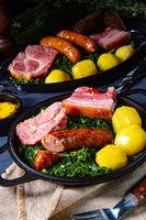 rustic kale with pinkel sausage and kassler