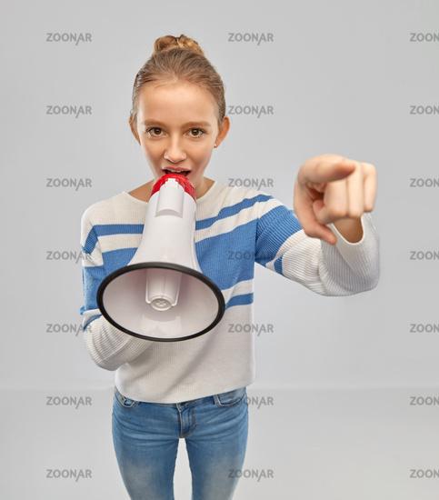 teenage girl speaking to megaphone