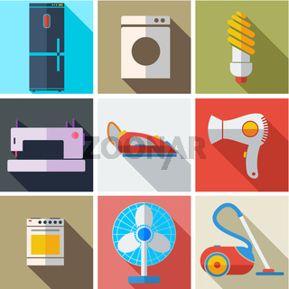 Collection modern flat icons household appliances with long shadow effect for design. Vector illustration.