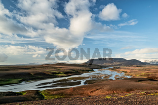 River and mountains near Kerlingarfjoll geothermal area, Iceland