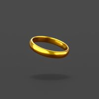 Golden Ring on Black Background
