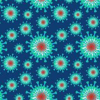 A seamless pattern. Vector illustration - coronavirus molecule under magnification, square.