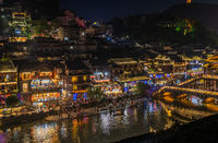 Xueqiao Snow Bridge in Feng huang seen at night