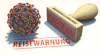 Coronavirus travel warning. A stamp with the German word