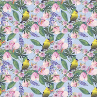 Seamless floral design with yellow bird and tropical  flowers for background