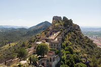Aerial image Xativa ancient spanish castle. Valencian Community, Spain