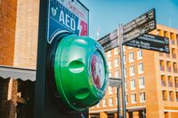 Automated External Defibrillator AED Philips on the street in the city of Gdansk, Poland on February 8, 2020. AED CPR Rescue Kits box. Medical equipment to save life in case. Street defibrillator
