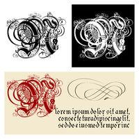 Decorative Gothic Letter N. Uncial Fraktur calligraphy.