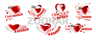 National flag of the Bahrain in the shape of a heart and the inscription I love Bahrain. Vector illustration