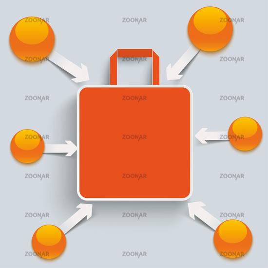 Orange Shopping Bag Arrows Buttons PiAd