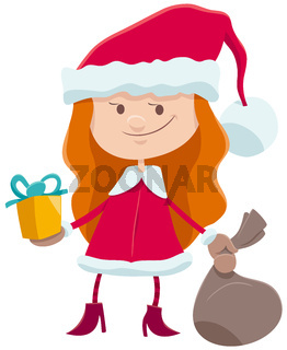 little girl in Santa Claus costume cartoon character