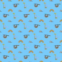 colorful seamless pattern background for children with sloth, owls, giraffe and rainbow