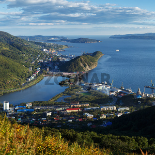 Summer view of Petropavlovsk-Kamchatsky City, Avacha Bay and Pacific Ocean
