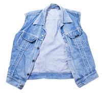 Blue denim vest on white background, jeans vest isolated on white background, summer clothes element