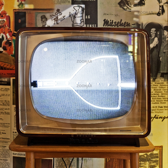 Old television, permanent exhibition at the Recklinghausen substation, Germany, Europe