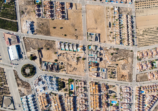 Construction of new settlement, aerial view. Spain