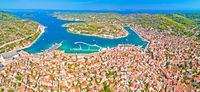 Bay of Vela Luka on Korcula island aerial panoramic view