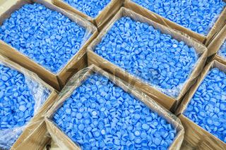 Blue bottle caps