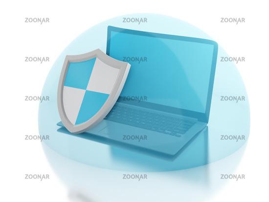 3d laptop with shield. internet security, antiviru