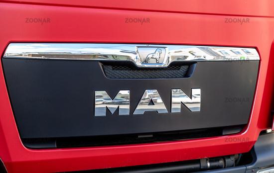 Logo of truck MAN closu up