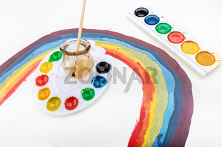 Rainbow drawing and watercolor palettes, isolated concept