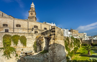 The historic city wall Il Bastione del Molino from Monopoli Apulia Italy