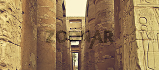 The great hypostyle hall in the Precinct of Amun-Re, the Karnak Temple Complex, Luxor, Egypt