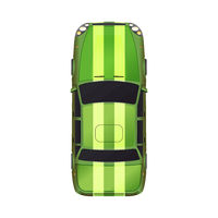 Top view of realistic glossy green sport car on white