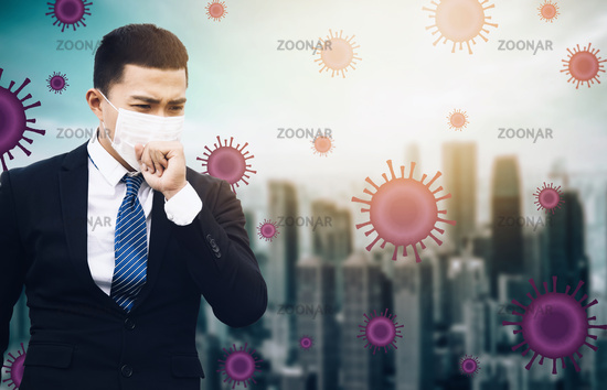 stressed business man wearing Protection Mask against flu virus  background