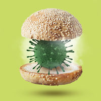 Burger bun with 3D model of Coronavirus molecule.