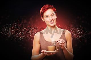 glückliche frau mit einer tasse kaffee