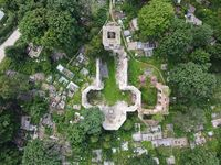 ruined church in the form of a cross, top view