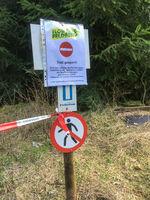 FELDBERG/TAUNUS, GERMANY - March 18 2020: Flow Trail Feldberg closed due to anti-corona virus measur