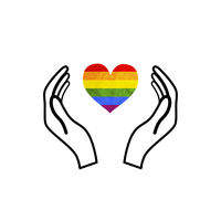 Hands hold a LGBT rainbow flag in heart shape, concept icon on white