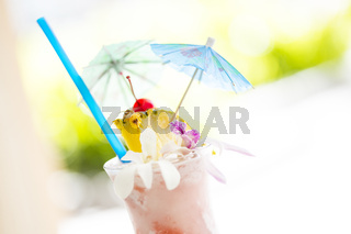 Fruity Tropical Drink with Pineapple and Umbrullas